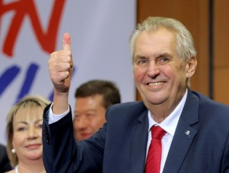 Czech President Milos Zeman reacts as he defeated pro-EU academic Jiri Drahos in the presidential election in Prague, Czech Republic, January 27, 2018.   REUTERS/Stringer   NO RESALES. NO ARCHIVES     TPX IMAGES OF THE DAY - RC142EF3AE10